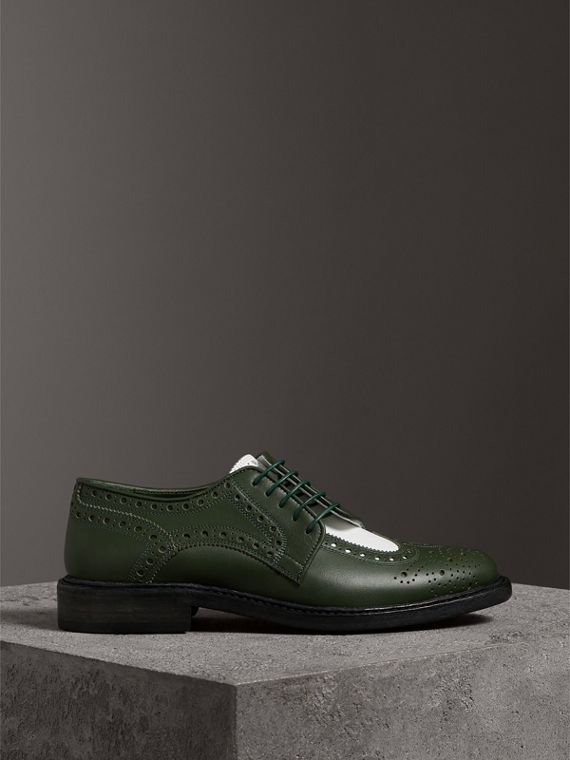 Two-tone Asymmetric Closure Leather Brogues in Dark Green - Women | Burberry Singapore - cell image 3