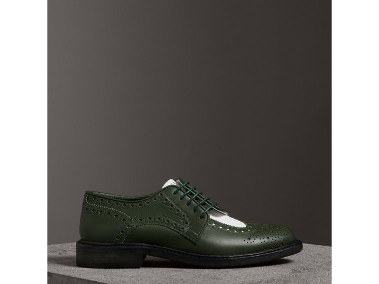 Two-tone Asymmetric Closure Leather Brogues in Dark Green - Women | Burberry - cell image 4