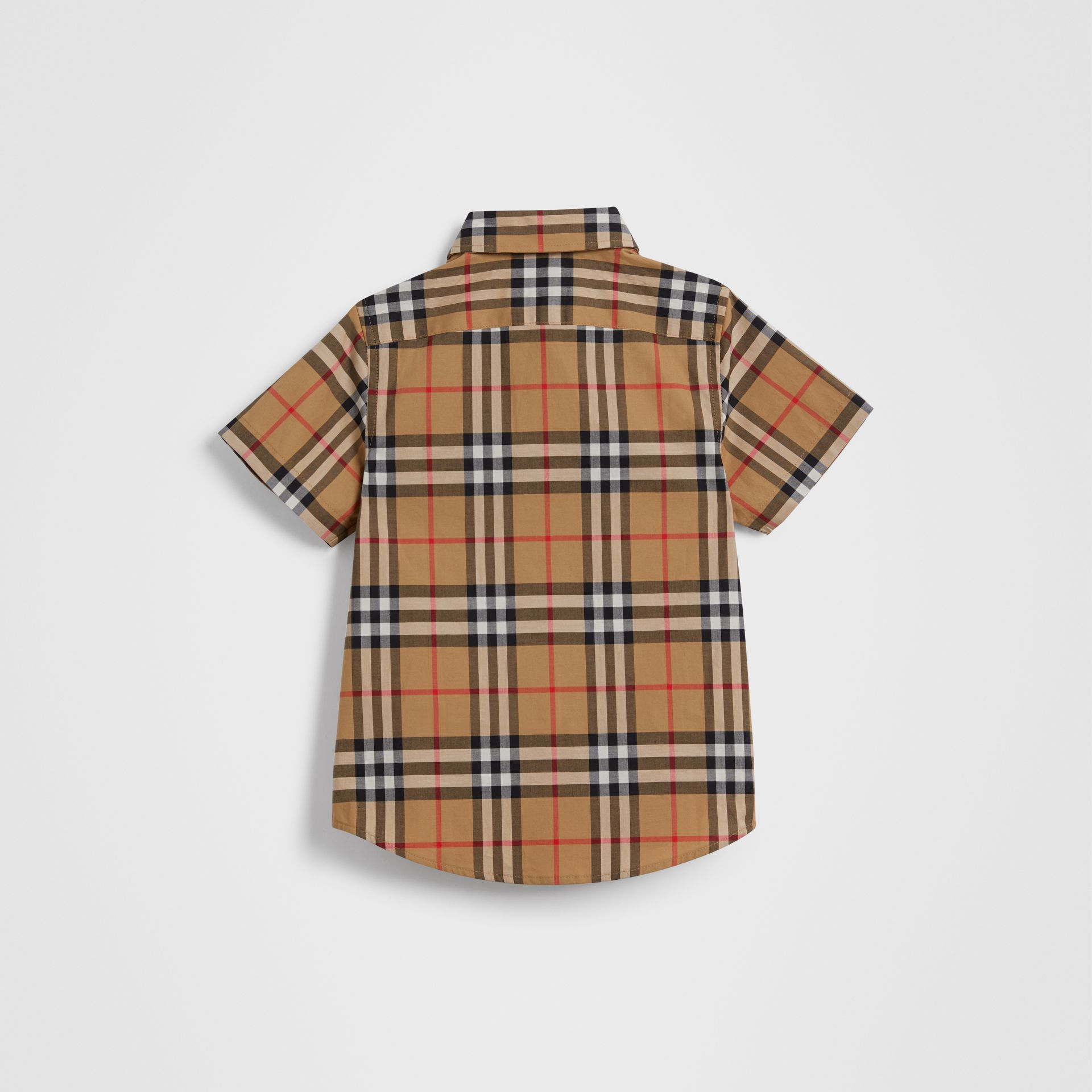 Short-sleeve Vintage Check Cotton Shirt in Antique Yellow | Burberry Singapore - gallery image 3