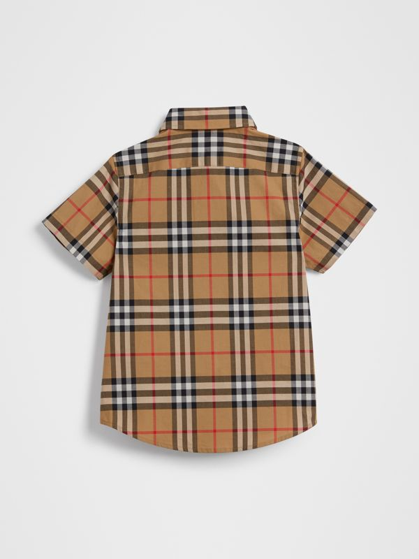 Short-sleeve Vintage Check Cotton Shirt in Antique Yellow | Burberry Singapore - cell image 3