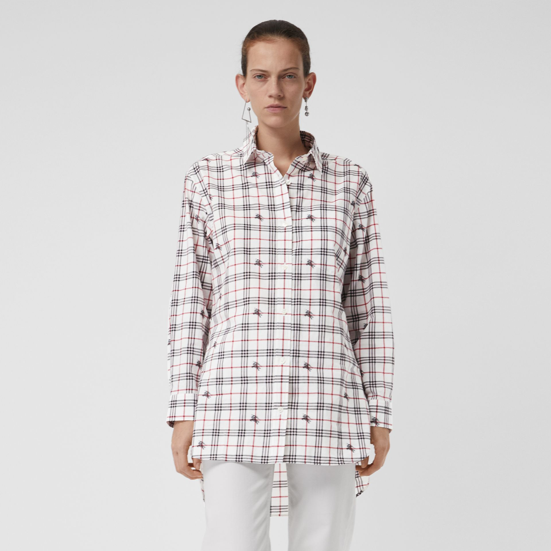 Equestrian Knight Check Cotton Shirt in Natural White - Women | Burberry - gallery image 0