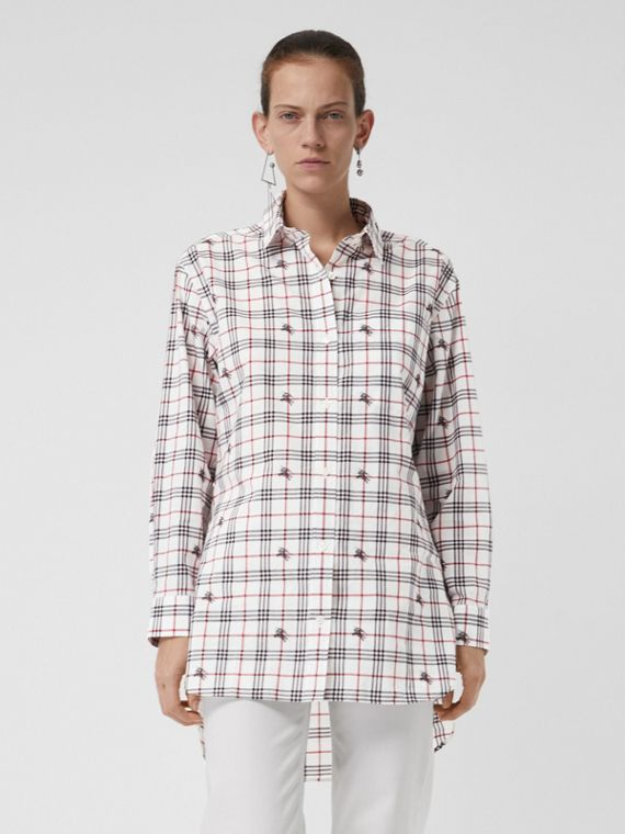 Equestrian Knight Check Cotton Shirt in Natural White