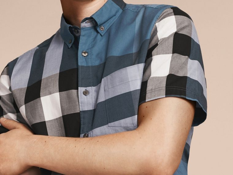 Lupin blue Short-sleeved Check Cotton Shirt Lupin Blue - cell image 4