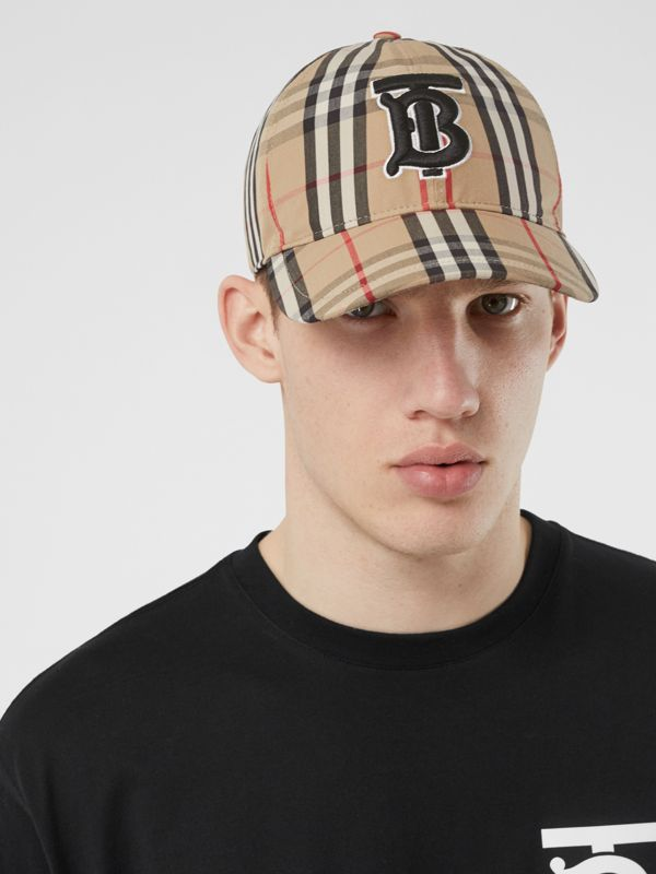 Monogram Motif Vintage Check Cotton Baseball Cap in Archive Beige | Burberry United Kingdom - cell image 3