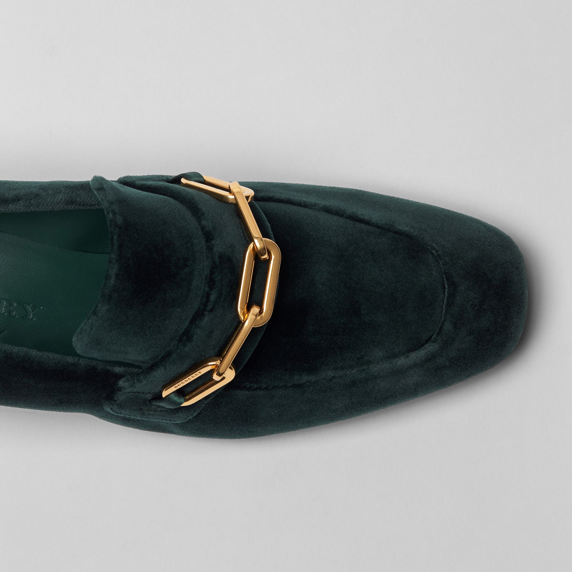 Link Detail Velvet Block-heel Loafers in Dark Forest Green - Women | Burberry - gallery image 1