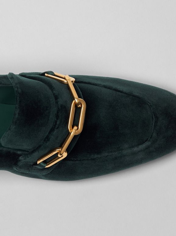Link Detail Velvet Block-heel Loafers in Dark Forest Green - Women | Burberry - cell image 1