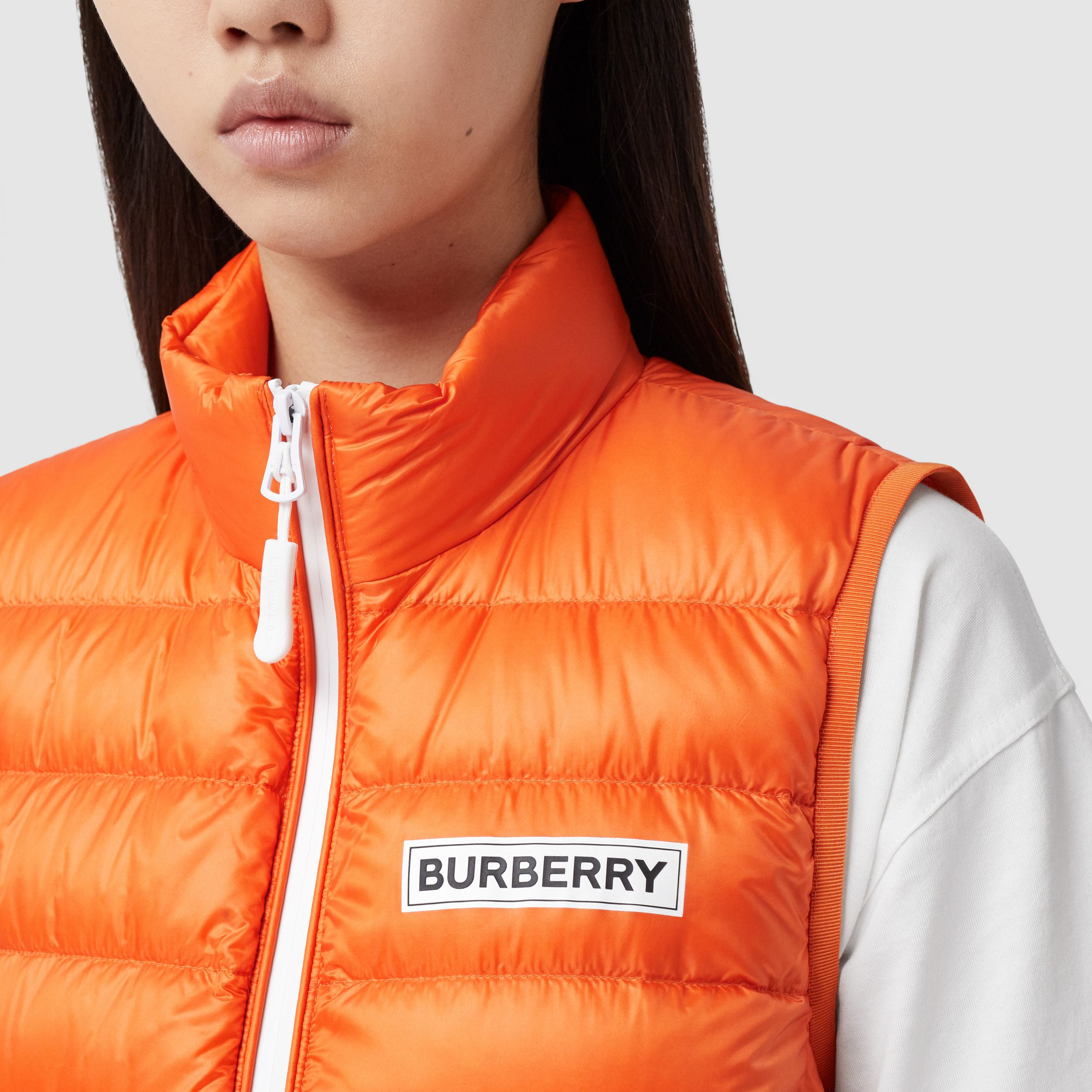 Logo Print Lightweight Puffer Gilet in Bright Orange - Women | Burberry Australia - 2