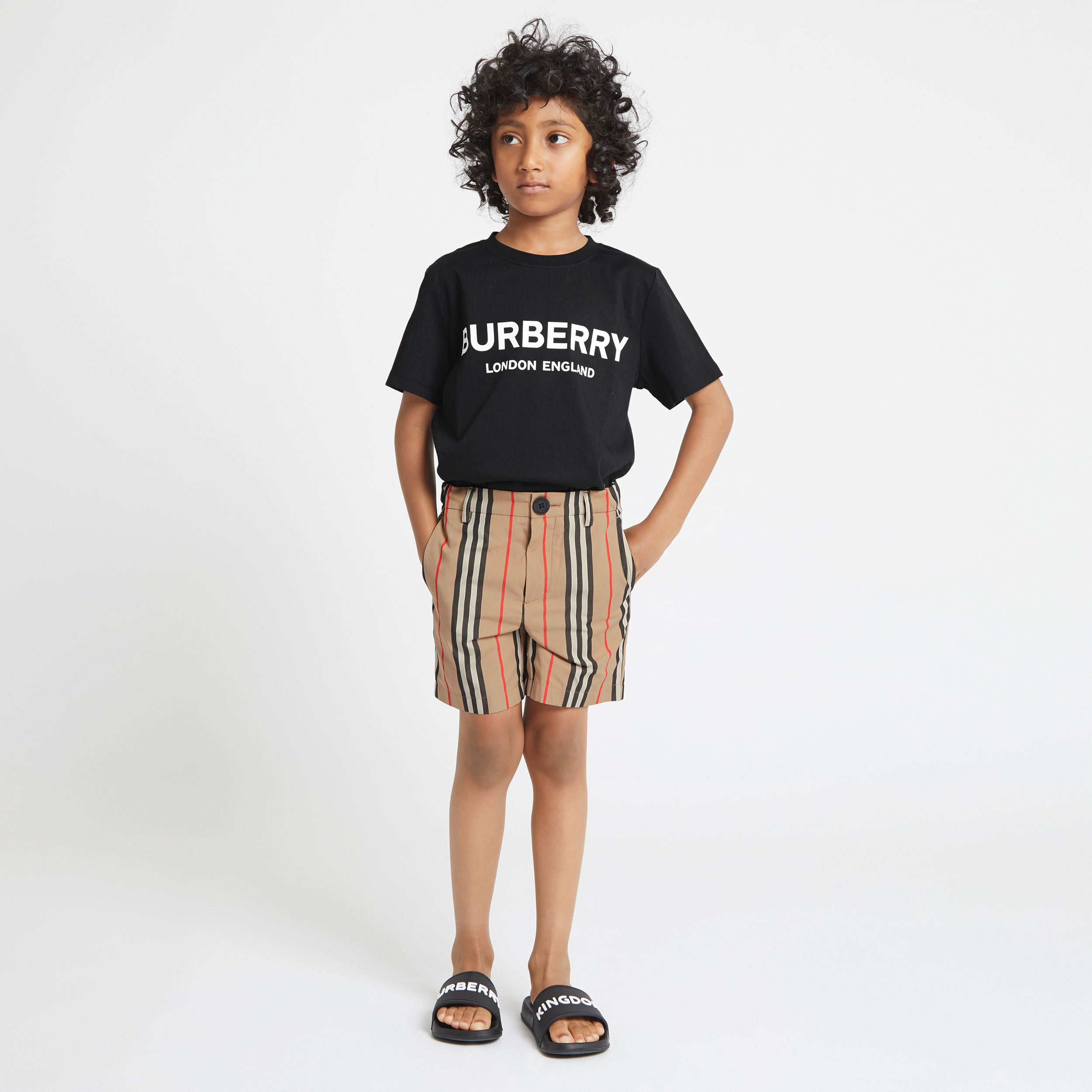 Logo Print Cotton T-shirt in Black | Burberry Australia - 3