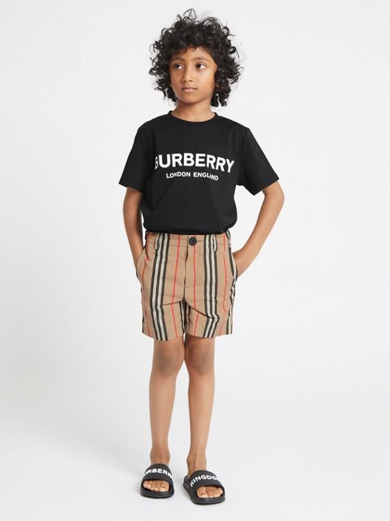 T-shirt en coton avec logo imprimé (Noir)