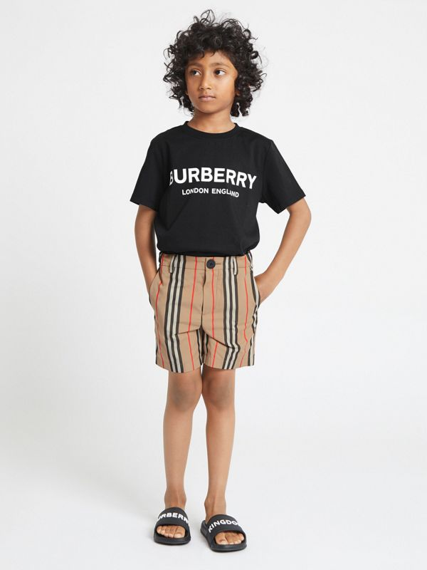 Logo Print Cotton T-shirt in Black | Burberry United States - cell image 2