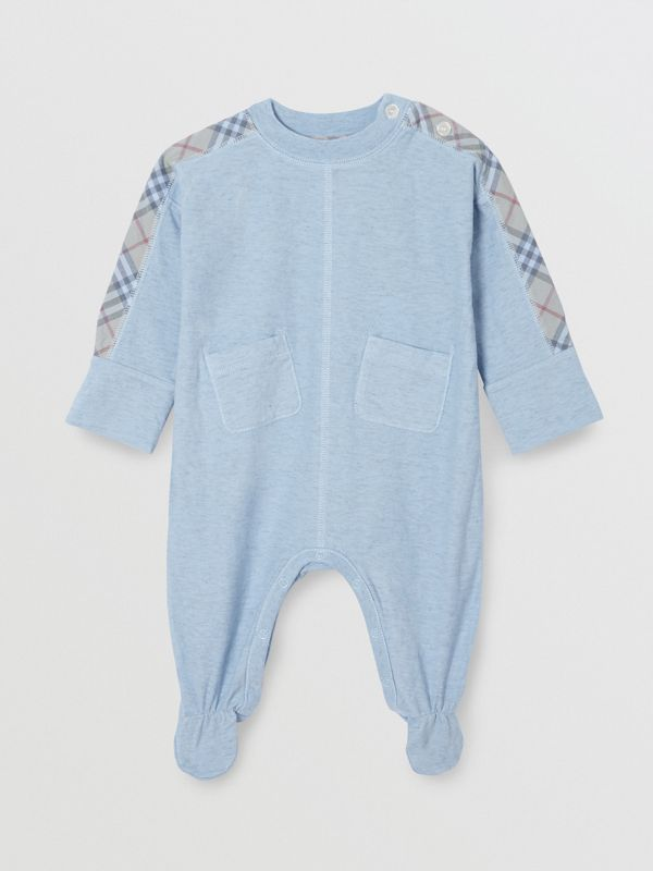 Check Cotton Three-piece Baby Gift Set in Pale Carbon Blue - Children | Burberry Australia - cell image 2