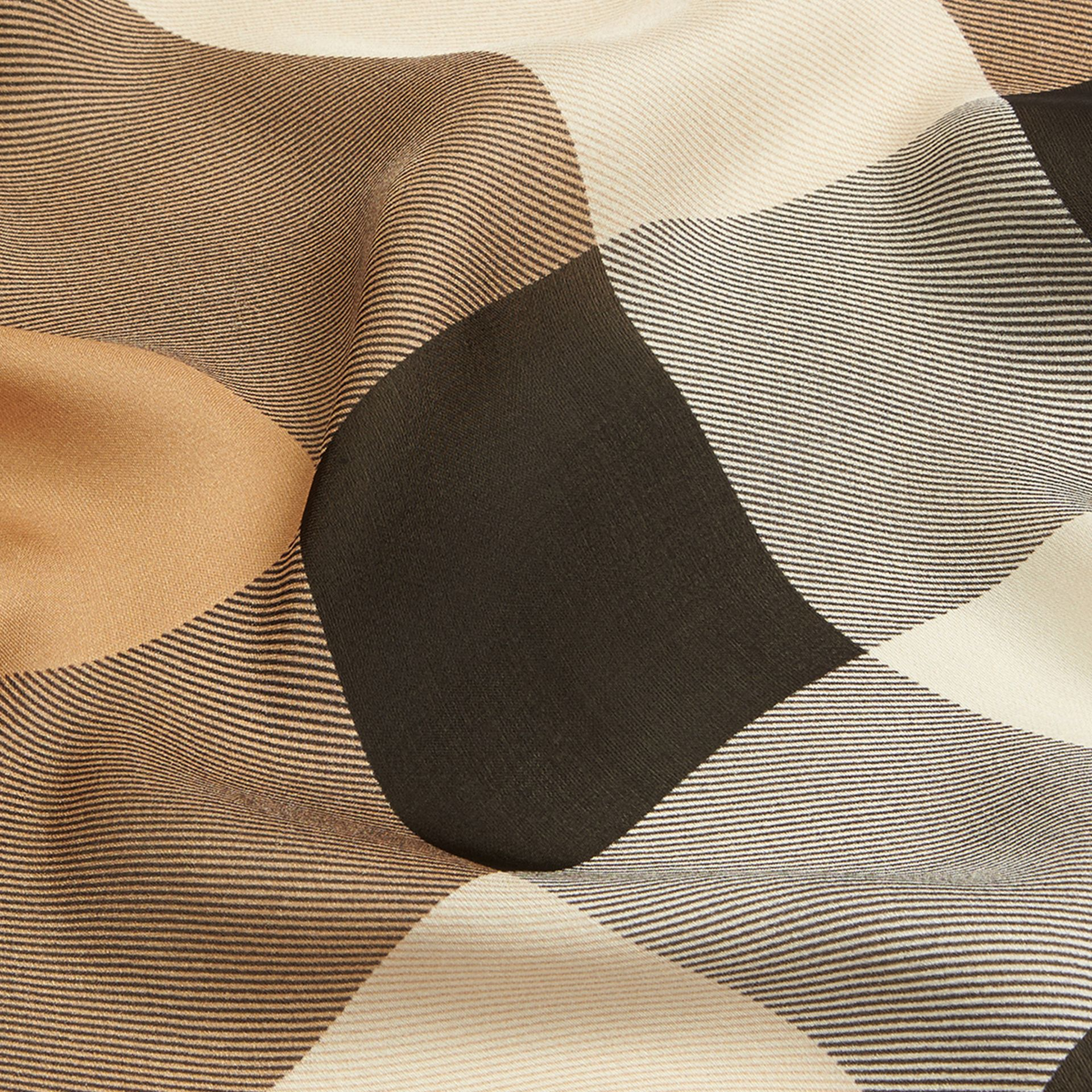 Lightweight Check Silk Scarf in Camel - gallery image 2
