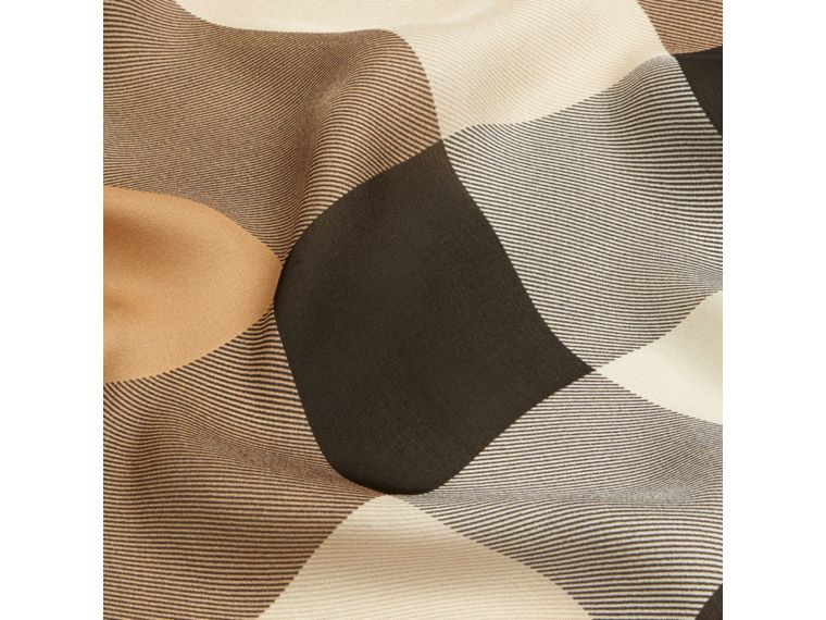 Lightweight Check Silk Scarf in Camel - cell image 1