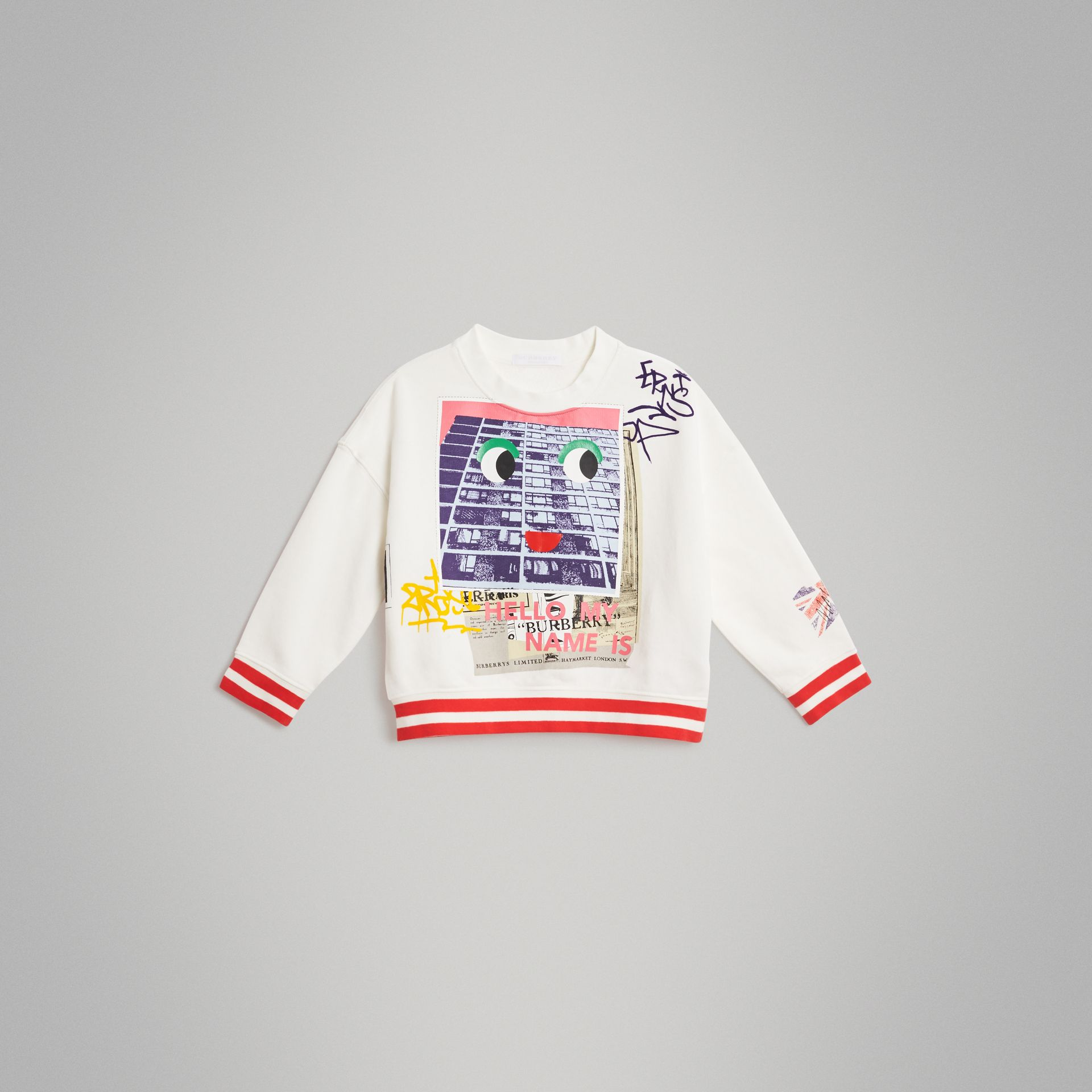 London Polaroid Print Cotton Sweatshirt in Ivory - Children | Burberry Singapore - gallery image 0