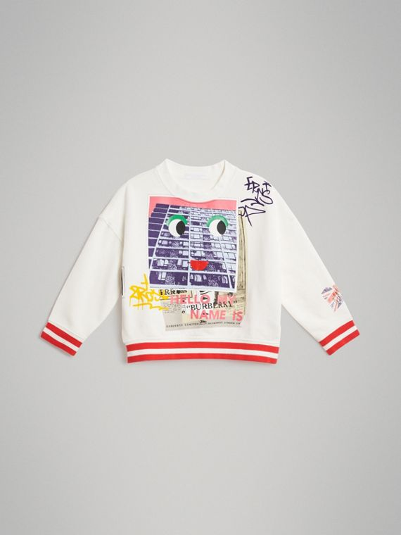London Polaroid Print Cotton Sweatshirt in Ivory