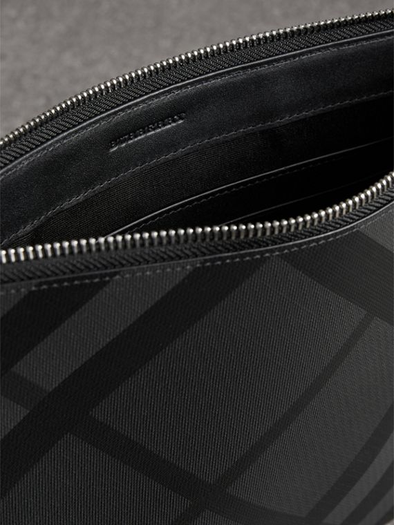 London Check Zip Pouch in Charcoal/black - Men | Burberry - cell image 3