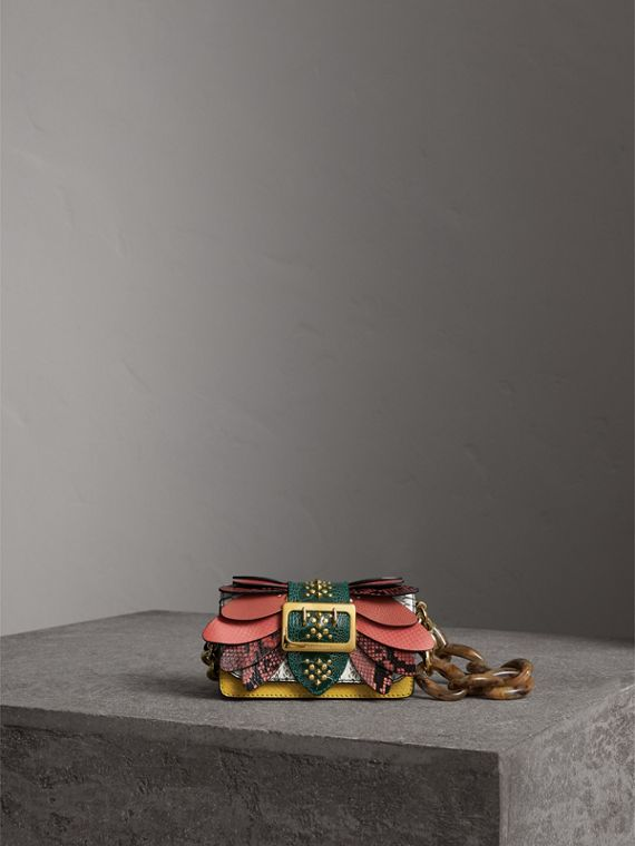 The Small Buckle Bag in Snakeskin and Leather in Citrus Yellow