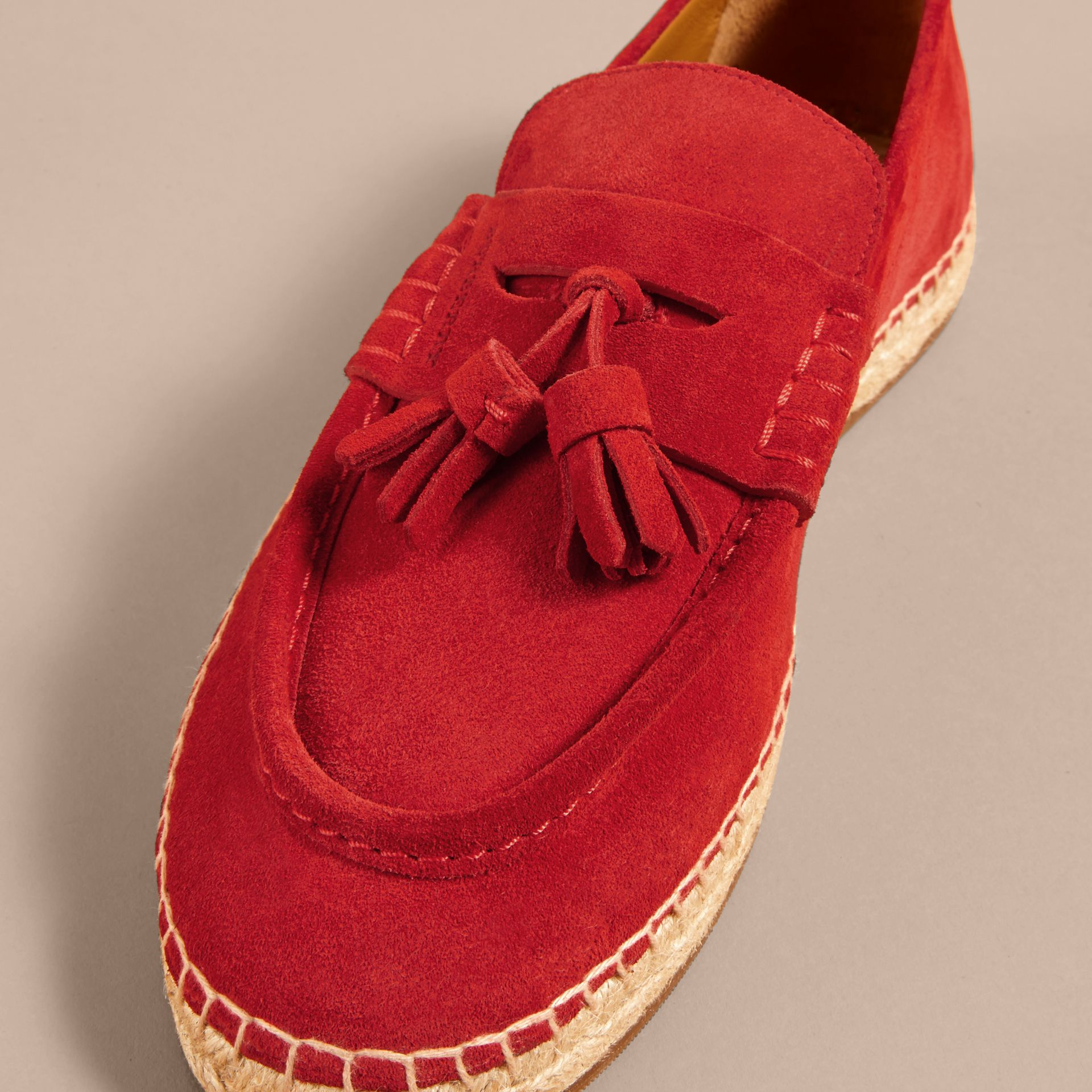 Tasselled Suede Espadrille Loafers in Bright Rowanberry - gallery image 2