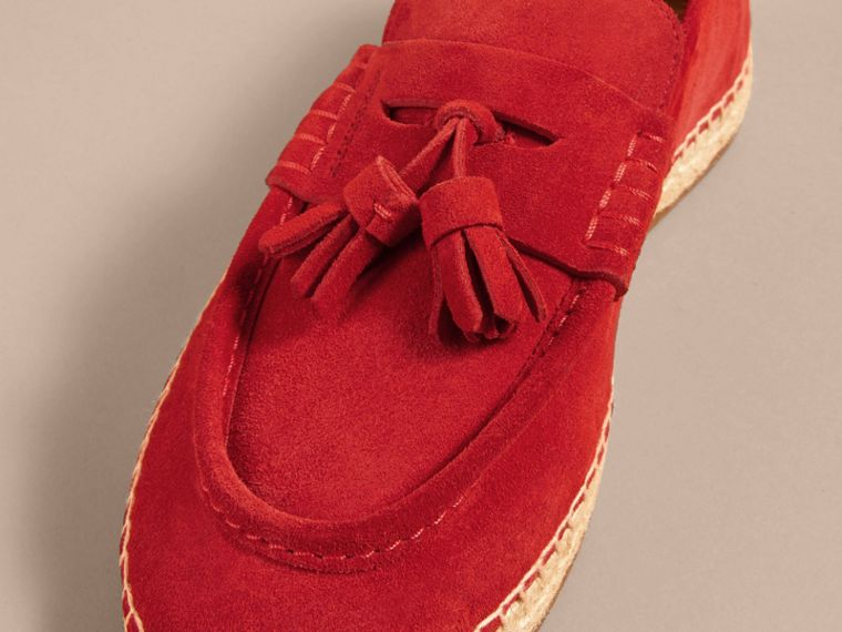 Tasselled Suede Espadrille Loafers in Bright Rowanberry - cell image 1