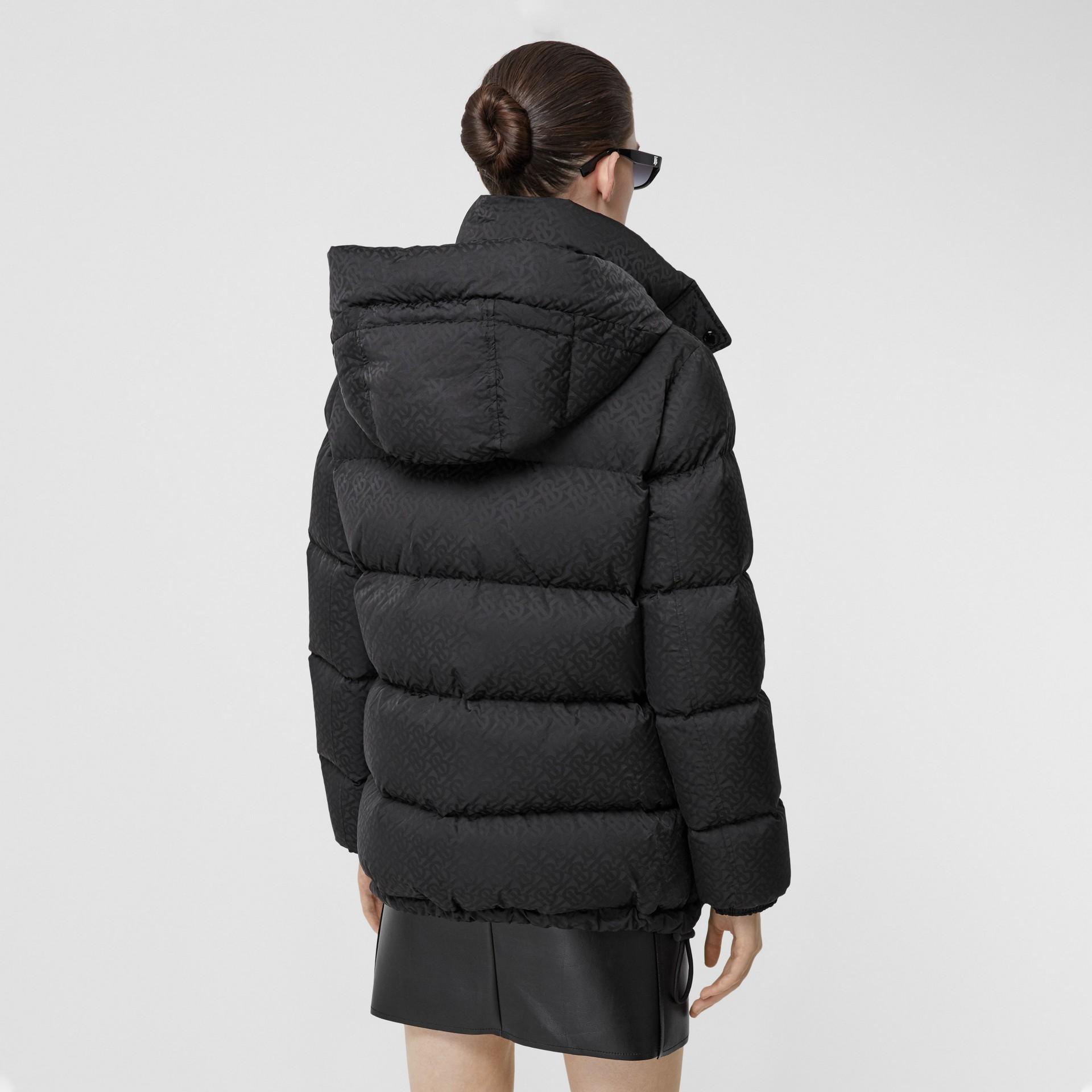 Detachable Hood Monogram ECONYL® Puffer Jacket in Black - Women | Burberry - gallery image 2