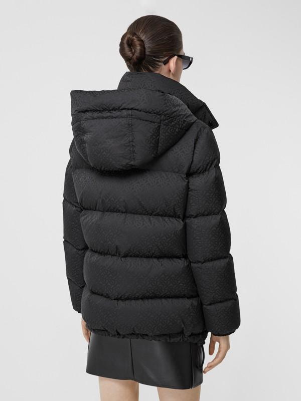 Detachable Hood Monogram ECONYL® Puffer Jacket in Black - Women | Burberry - cell image 2