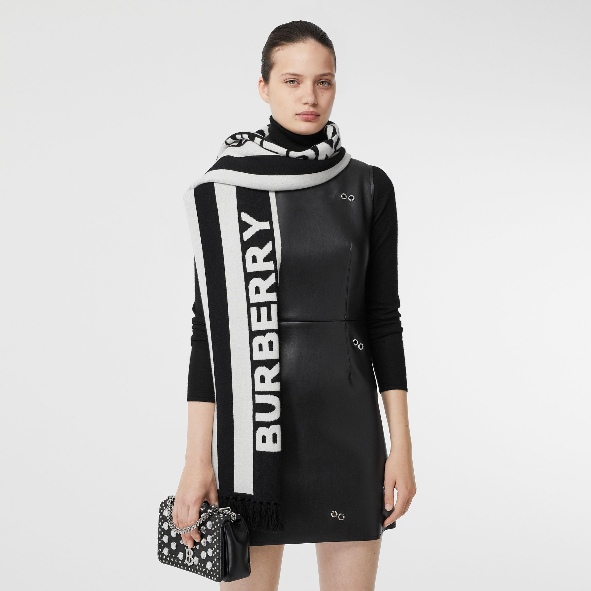 Logo Cashmere Jacquard Capelet with Sleeves in Black | Burberry United Kingdom - gallery image 1