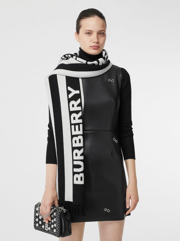 Logo Cashmere Jacquard Capelet with Sleeves in Black | Burberry United Kingdom - cell image 1