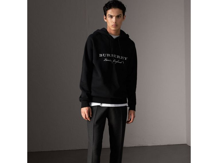 Embroidered Hooded Sweatshirt in Black - Men | Burberry Singapore - cell image 4