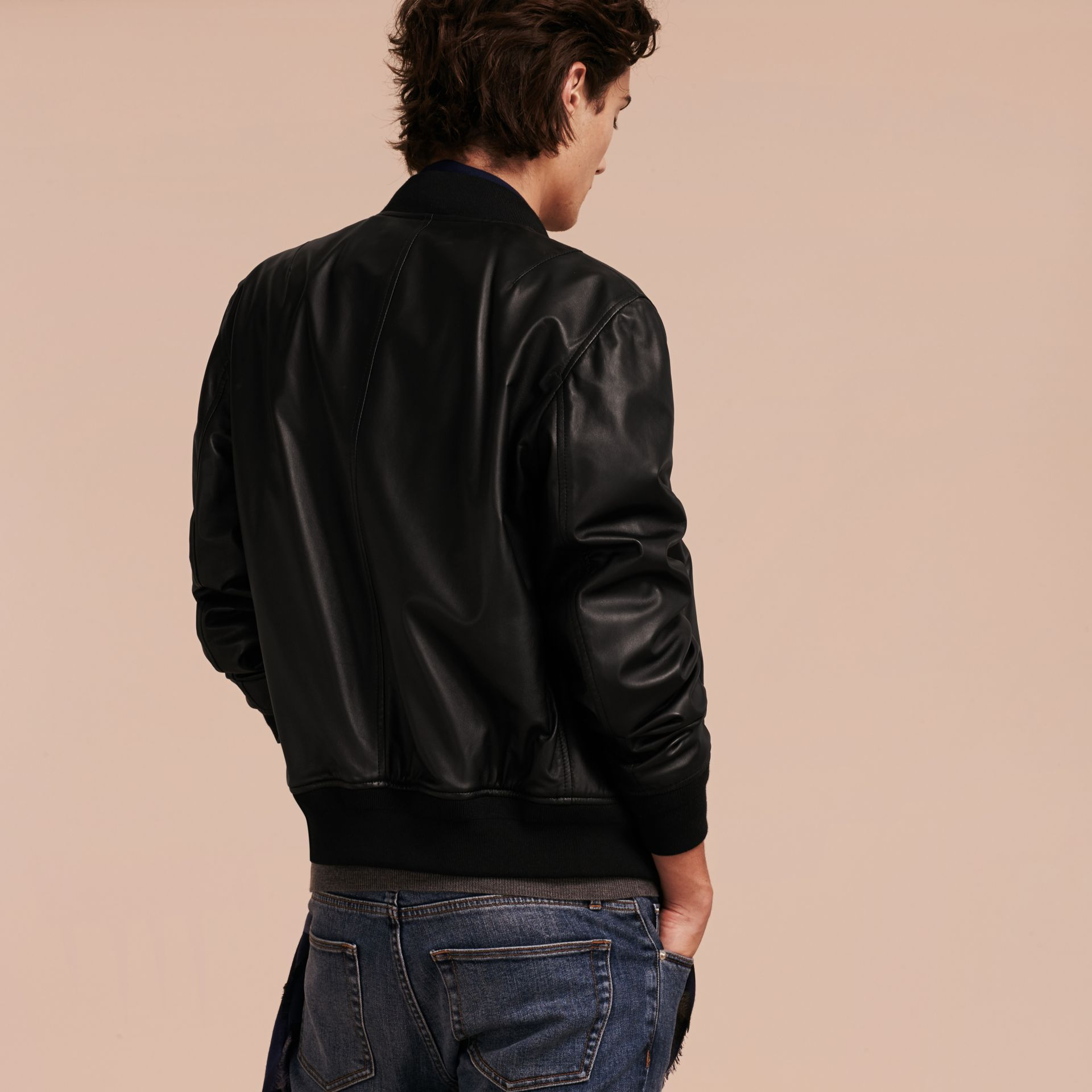 Black Lightweight Lambskin Bomber Jacket Black - gallery image 3