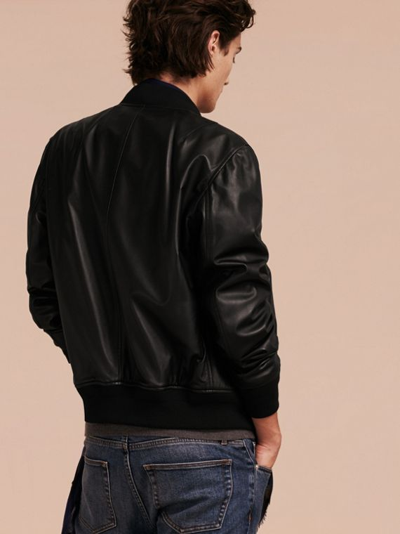 Black Lightweight Lambskin Bomber Jacket Black - cell image 2