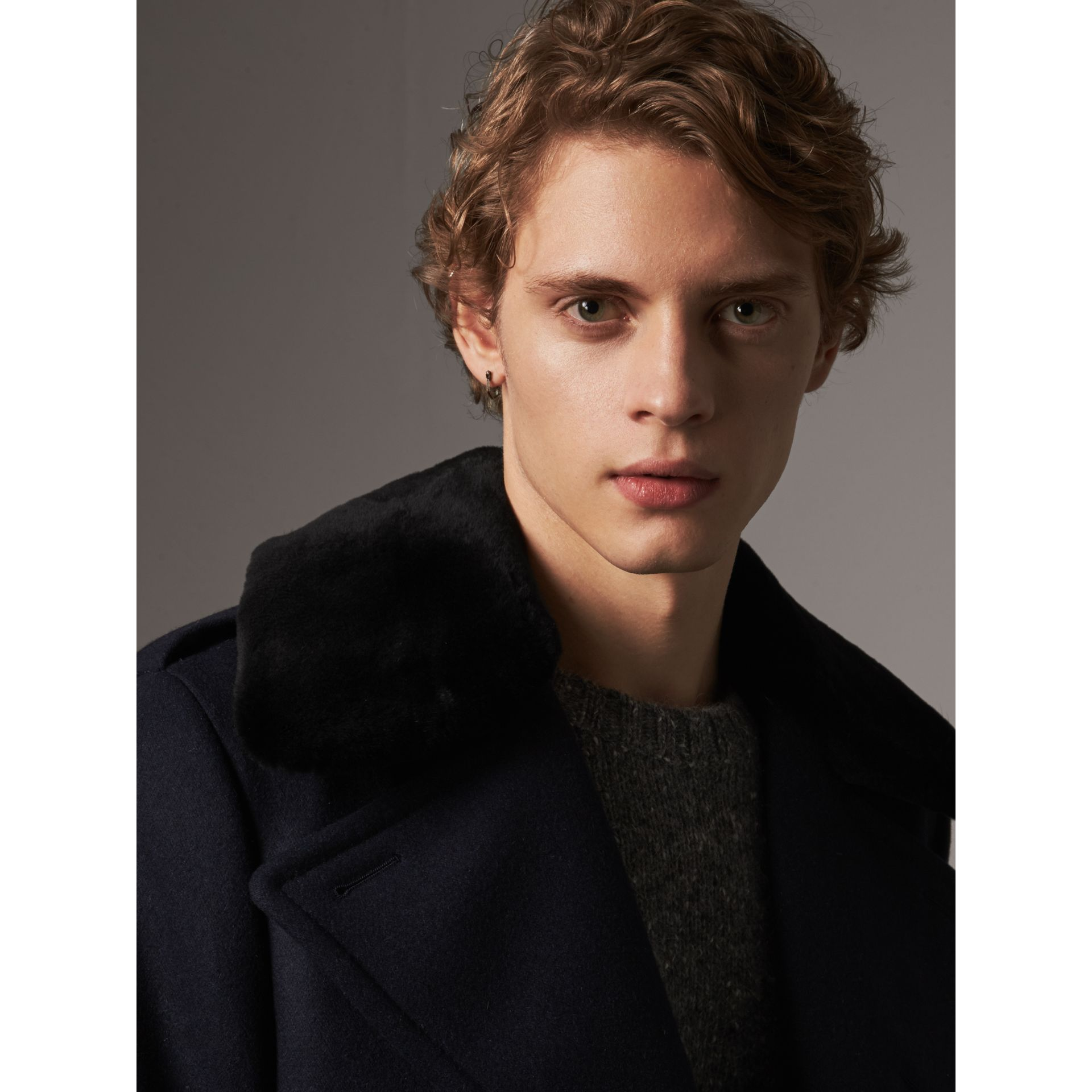 Detachable Mink Collar Wool Greatcoat in Navy - Men | Burberry Singapore - gallery image 2