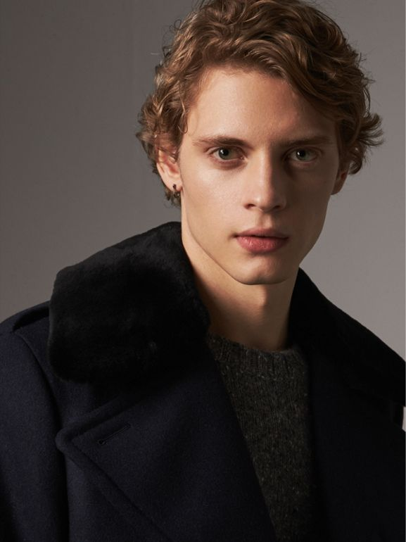 Detachable Mink Collar Wool Greatcoat in Navy - Men | Burberry - cell image 1