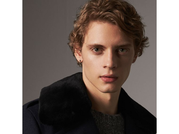Detachable Mink Collar Wool Greatcoat in Navy - Men | Burberry Singapore - cell image 1