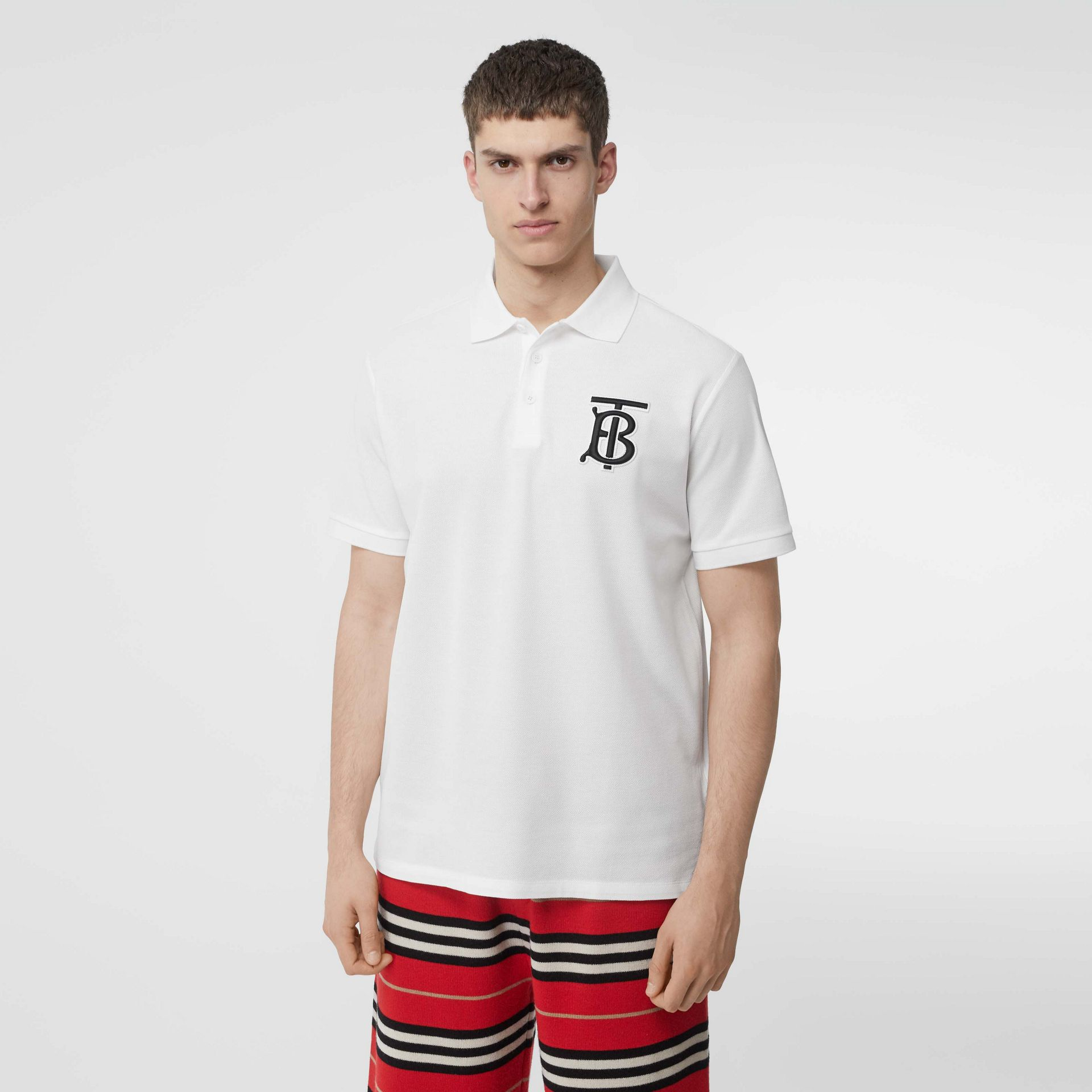 Monogram Motif Cotton Piqué Oversized Polo Shirt in White - Men | Burberry Canada - gallery image 4