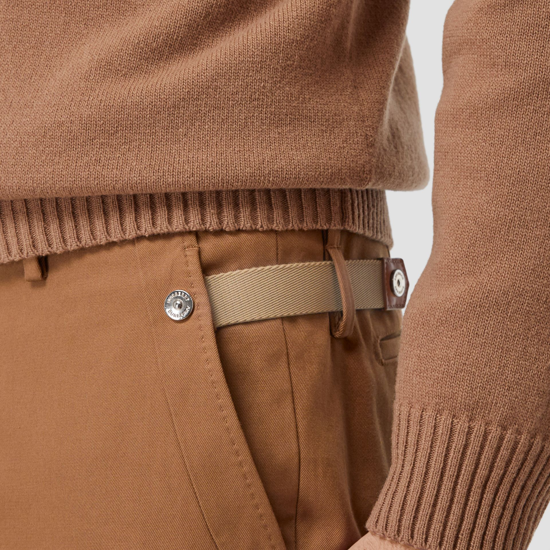 Classic Fit Cotton Chinos in Warm Walnut - Men | Burberry - gallery image 4