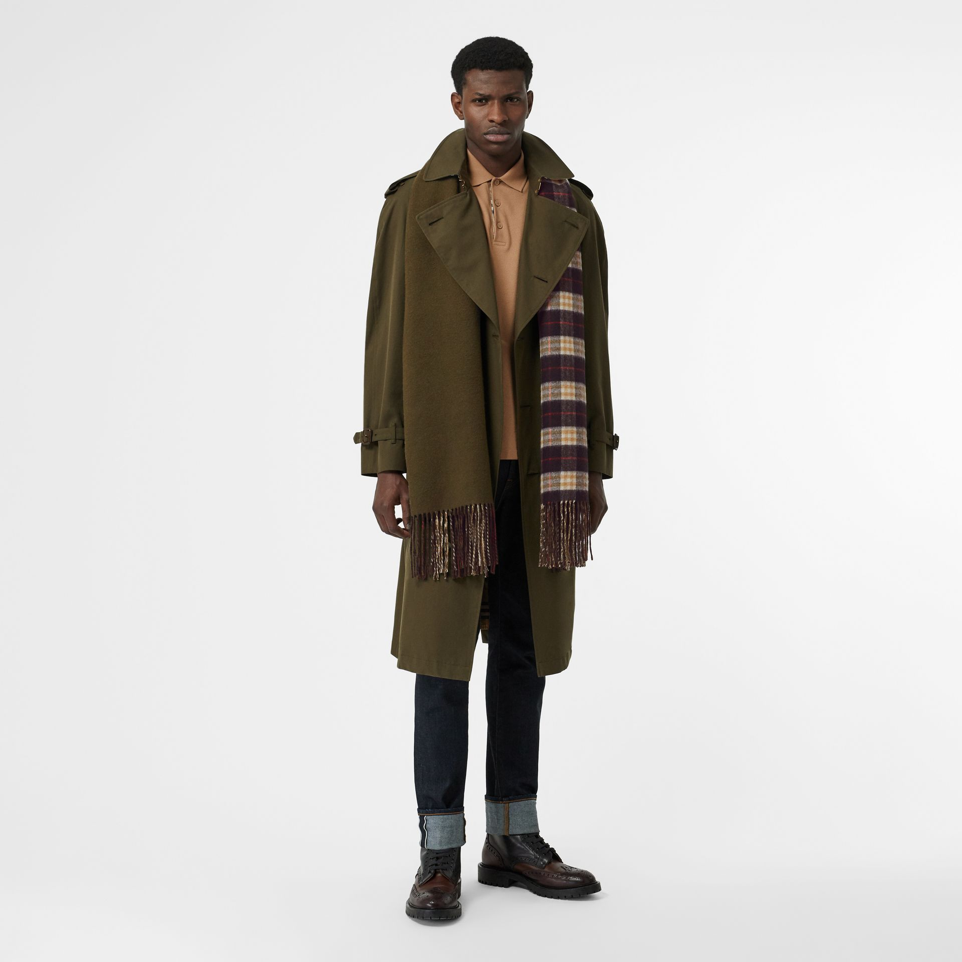 Colour Block Vintage Check Cashmere Scarf in Antique Green | Burberry United States - gallery image 6