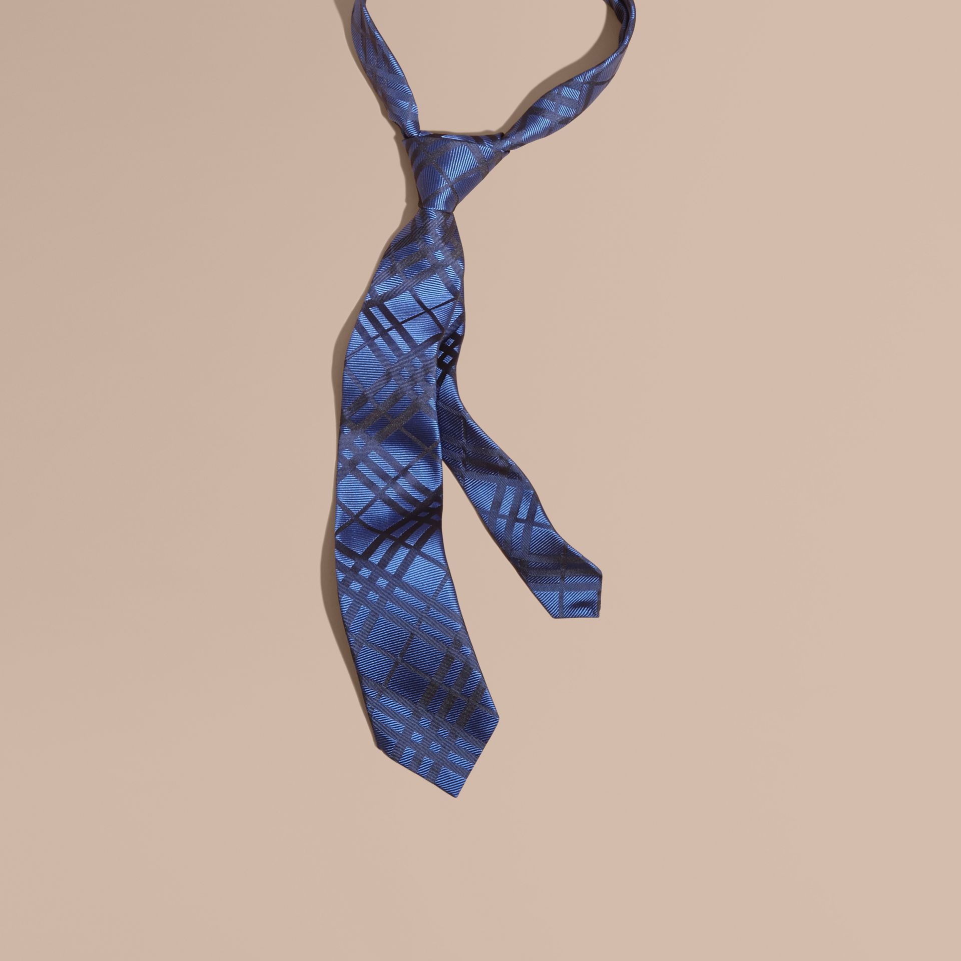 Brilliant blue Modern Cut Check Jacquard Silk TIe Brilliant Blue - gallery image 1