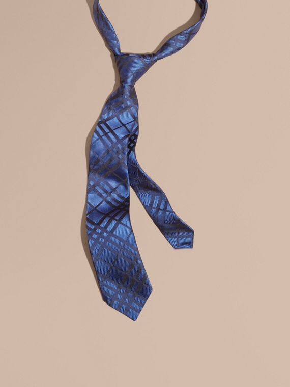 Modern Cut Check Jacquard Silk TIe Brilliant Blue
