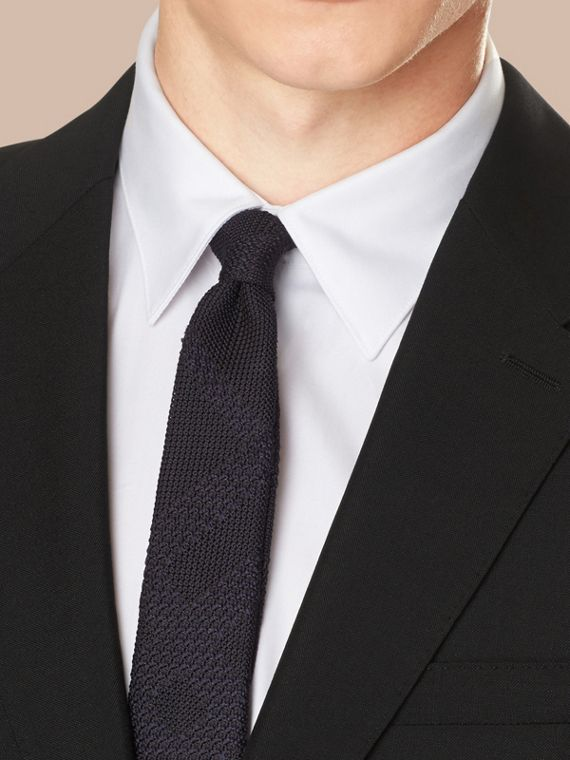 Modern Fit Wool Mohair Part-canvas Suit in Black - cell image 3