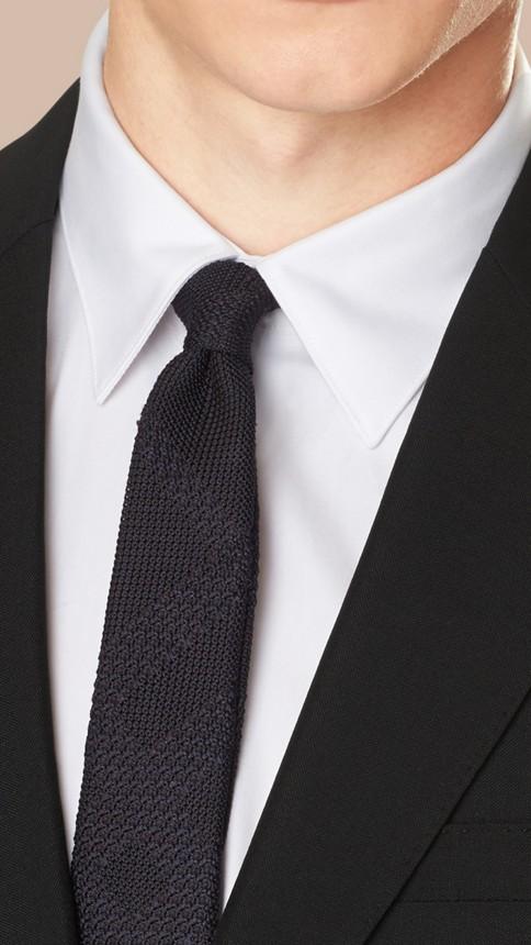 Black Modern Fit Wool Mohair Part-canvas Suit Black - Image 4