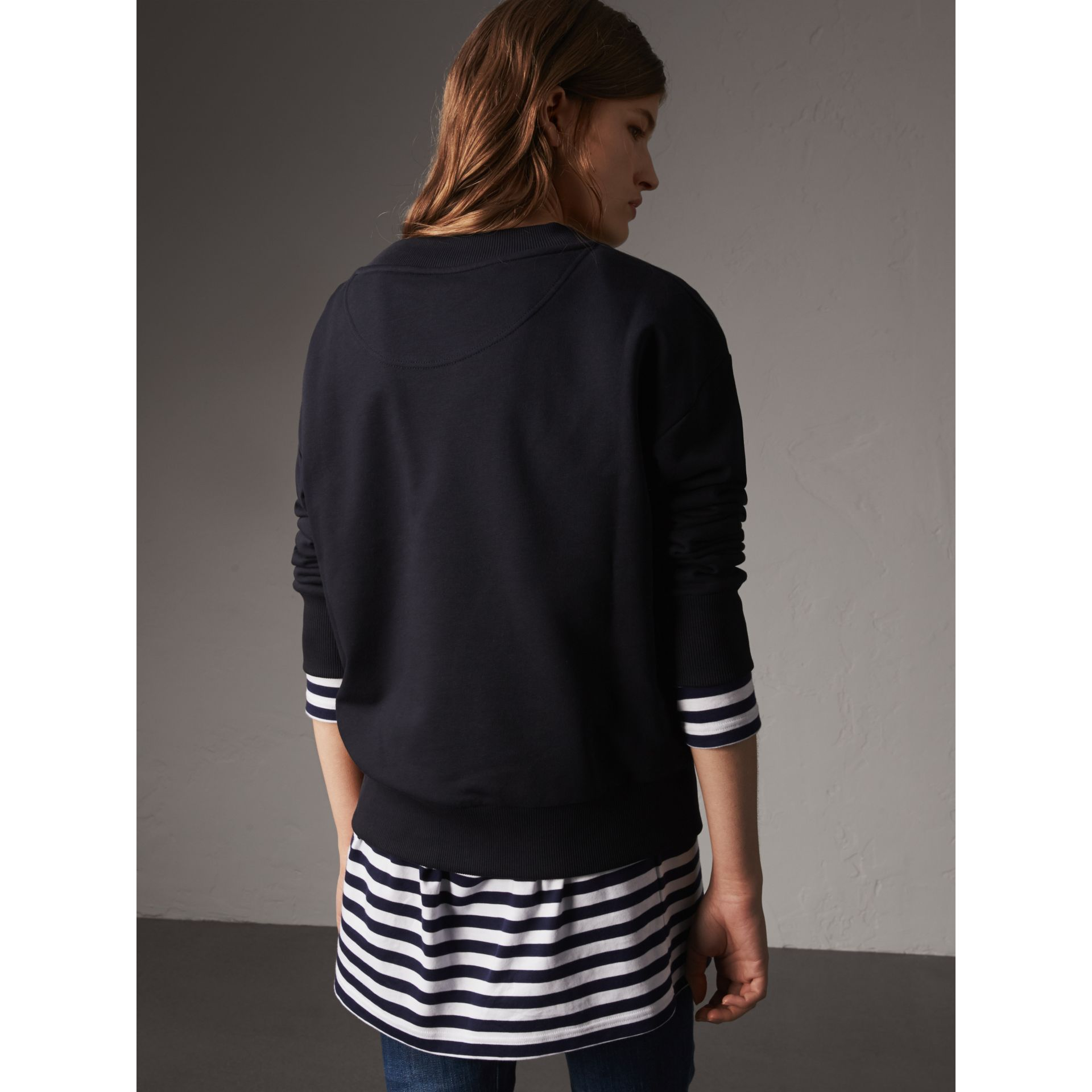 Resin Button Cotton Sweatshirt in Navy - Women | Burberry - gallery image 3