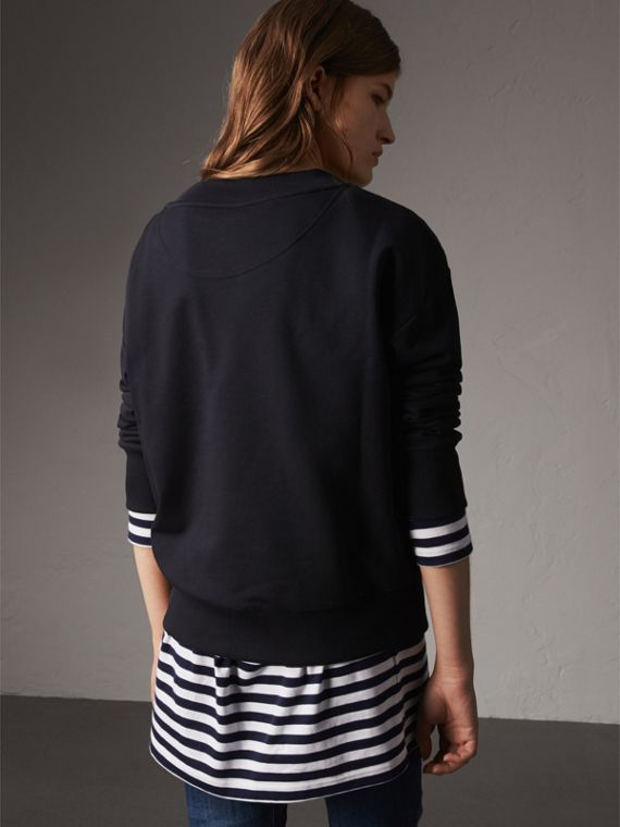 Resin Button Cotton Sweatshirt in Navy - Women | Burberry - cell image 2