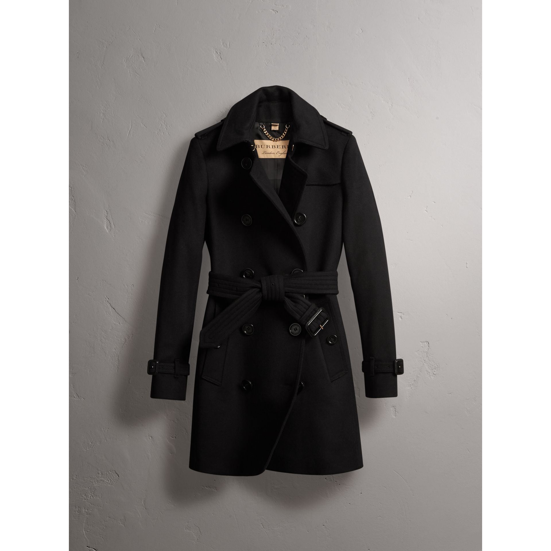 Wool Cashmere Trench Coat in Black - Women | Burberry - gallery image 3