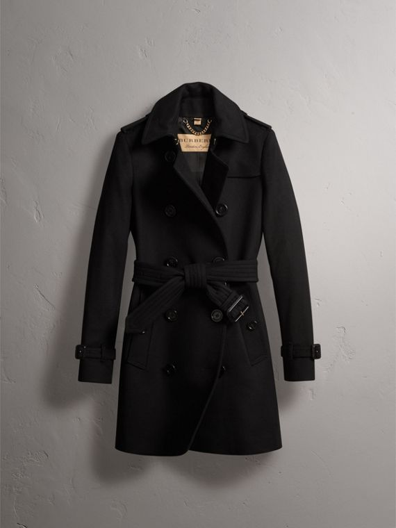 Wool Cashmere Trench Coat in Black