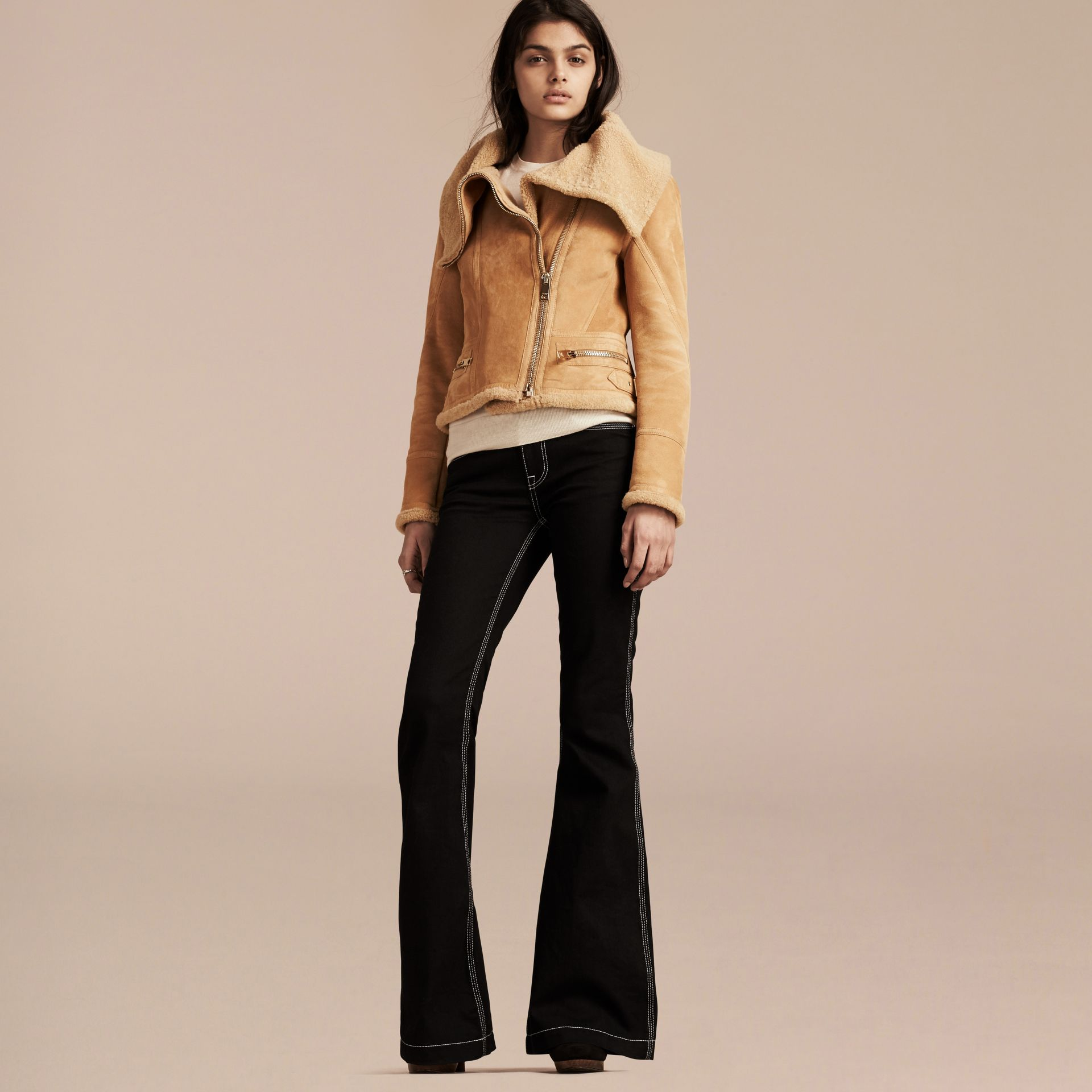 Honey Shearling Aviator Jacket - gallery image 7