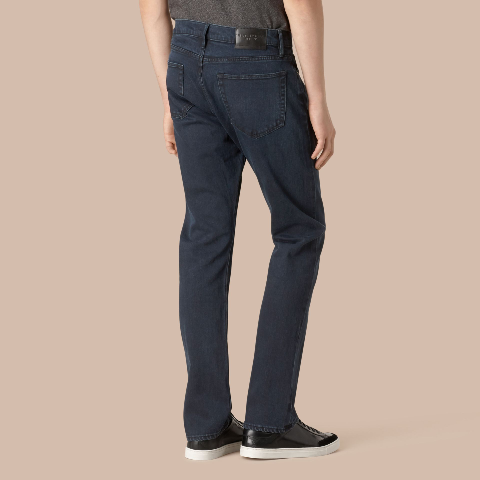 Straight Fit Indigo Stretch Jeans in Dark - Men | Burberry - gallery image 3