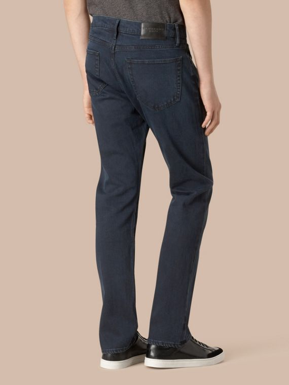 Straight Fit Indigo Stretch Jeans - Men | Burberry - cell image 2