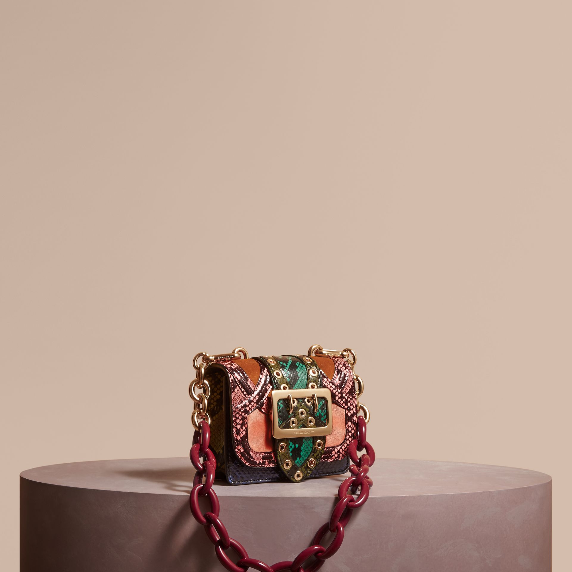Rose pink The Mini Square Buckle Bag in Snakeskin and Velvet - gallery image 1