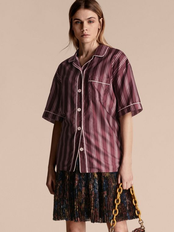 Short-sleeved Panama Stripe Cotton Silk Shirt