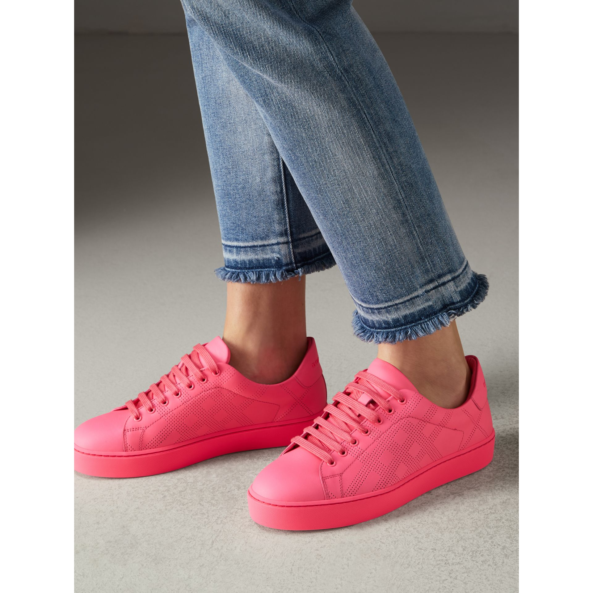 Perforated Check Leather Sneakers in Neon Pink - Women | Burberry - gallery image 2